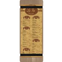 Menu Solutions WDRBB-BD Weathered Walnut 4 1/4 inch x 14 inch Customizable Wood Menu Board with Rubber Band Straps