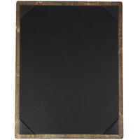 Menu Solutions WDPIX-C Weathered Walnut 8 1/2 inch x 11 inch Customizable Wood Menu Board with Picture Corners