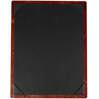 Menu Solutions WDPIX-C Mahogany 8 1/2 inch x 11 inch Customizable Wood Menu Board with Picture Corners