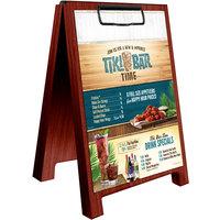 Menu Solutions WDSD-CL-B 5 inch x 7 inch Mahogany Wood Sandwich Menu Board Tent with Clip