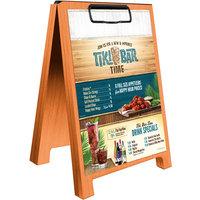 Menu Solutions WDSD-CL-B 5 inch x 7 inch Mandarin Wood Sandwich Menu Board Tent with Clip