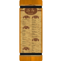Menu Solutions WDRBB-BD Country Oak 4 1/4 inch x 14 inch Customizable Wood Menu Board with Rubber Band Straps