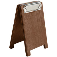 Menu Solutions WDSD-CL-A 4 inch x 6 inch Walnut Wood Sandwich Menu Board Tent with Clip