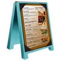 Menu Solutions WDSD-PIX-A 4 inch x 6 inch Sky Blue Wood Sandwich Menu Board Tent with Picture Corners
