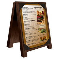 Menu Solutions WDSD-PIX-A 4 inch x 6 inch Walnut Wood Sandwich Menu Board Tent with Picture Corners
