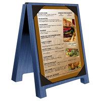 Menu Solutions WDSD-PIX-A 4 inch x 6 inch True Blue Wood Sandwich Menu Board Tent with Picture Corners