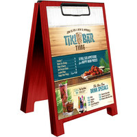 Menu Solutions WDSD-CL-B 5 inch x 7 inch Berry Wood Sandwich Menu Board Tent with Clip