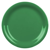 6 1/2 inch Green Narrow Rim Melamine Plate - 12/Pack