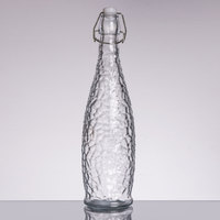 Core 32 oz. Textured Glass Water Bottle with Clear Swing Top Lid - 6/Case