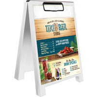 Menu Solutions WDSD-CL-B 5 inch x 7 inch White Wash Wood Sandwich Menu Board Tent with Clip