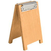 Menu Solutions WDSD-CL-A 4 inch x 6 inch Country Oak Wood Sandwich Menu Board Tent with Clip