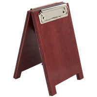 Menu Solutions WDSD-CL-A 4 inch x 6 inch Mahogany Wood Sandwich Menu Board Tent with Clip