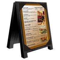 Menu Solutions WDSD-PIX-A 4 inch x 6 inch Black Wood Sandwich Menu Board Tent with Picture Corners