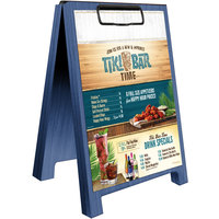 Menu Solutions WDSD-CL-B 5 inch x 7 inch True Blue Wood Sandwich Menu Board Tent with Clip