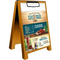 Menu Solutions WDSD-CL-B 5 inch x 7 inch Country Oak Wood Sandwich Menu Board Tent with Clip