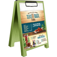 Menu Solutions WDSD-CL-B 5 inch x 7 inch Lime Wood Sandwich Menu Board Tent with Clip