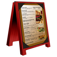 Menu Solutions WDSD-PIX-A 4 inch x 6 inch Berry Wood Sandwich Menu Board Tent with Picture Corners