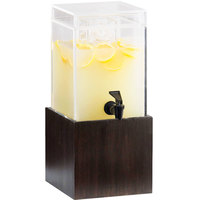 Cal-Mil 1527-1-96 1.5 Gallon Midnight Bamboo Beverage Dispenser - 9 3/4 inch x 8 1/4 inch x 17 3/4 inch