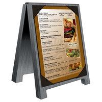 Menu Solutions WDSD-PIX-A 4 inch x 6 inch Ash Wood Sandwich Menu Board Tent with Picture Corners