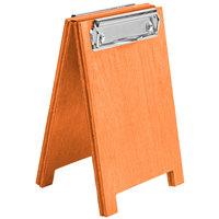 Menu Solutions WDSD-CL-A 4 inch x 6 inch Mandarin Wood Sandwich Menu Board Tent with Clip