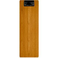 Menu Solutions WDCLIP-BD Country Oak 4 1/4 inch x 14 inch Customizable Wood Menu Clip Board