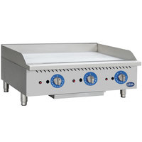 Globe GG36TG 36 inch Countertop Gas Griddle with Thermostatic Controls - 90,000 BTU