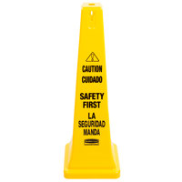 Rubbermaid FG627687YEL 36 inch Yellow Bilingual Wet Floor Cone-Shaped Sign - Caution Safety First