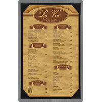 Menu Solutions WDPIX-D Ash 8 1/2 inch x 14 inch Customizable Wood Menu Board with Picture Corners
