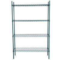 Regency 14 inch x 48 inch NSF Green Epoxy Shelf Kit with 74 inch Posts