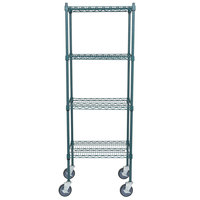 Regency 18 inch x 24 inch NSF Green Epoxy Shelf Kit with 64 inch Posts and Casters
