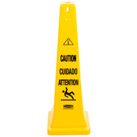 Rubbermaid FG627600YEL 36 inch Yellow Multi-Lingual Wet Floor Cone-Shaped Sign - Caution