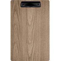 Menu Solutions WDCLIP-D Weathered Walnut 8 1/2 inch x 14 inch Customizable Wood Menu Clip Board