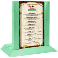 Menu Solutions WDAFR-B Washed Teal Wood Menu Holder / Tent with 5 inch x 7 inch Insert Slot