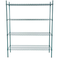 Regency 21 inch x 60 inch NSF Green Epoxy Shelf Kit with 74 inch Posts