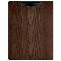 Menu Solutions WDCLIP-C Walnut 8 1/2 inch x 11 inch Customizable Wood Menu Clip Board