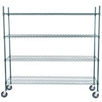 Regency 18 inch x 72 inch NSF Green Epoxy Shelf Kit with 64 inch Posts and Casters