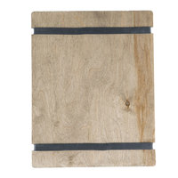Menu Solutions WDRBB-C Weathered Walnut 8 1/2 inch x 11 inch Customizable Wood Menu Board with Rubber Band Straps