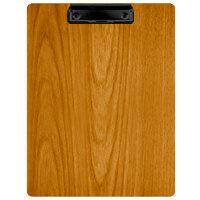 Menu Solutions WDCLIP-C Country Oak 8 1/2 inch x 11 inch Customizable Wood Menu Clip Board