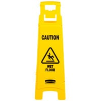 Rubbermaid FG611477YEL 37 inch Yellow 4-Sided Wet Floor Sign - Caution Wet Floor