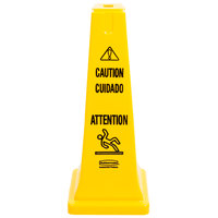 Rubbermaid FG627700YEL 25 3/4 inch Yellow Multi-Lingual Wet Floor Cone-Shaped Sign - Caution