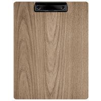 Menu Solutions WDCLIP-C Weathered Walnut 8 1/2 inch x 11 inch Customizable Wood Menu Clip Board