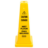 Rubbermaid FG627777YEL 25 3/4 inch Yellow Bilingual Cone-Shaped Sign - Caution Wet Floor