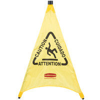 Rubbermaid FG9S0100YEL 30 inch Yellow Multi-Lingual Caution Wet Floor Sign Pop-Up Safety Cone