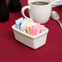 Tuxton BWQ-0452 White China Long Sugar Packet Holder / Caddy - 12/Case