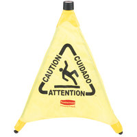 Rubbermaid FG9S0000YEL 20 inch Yellow Multi-Lingual Caution Wet Floor Sign Pop-Up Safety Cone