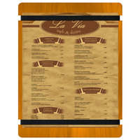 Menu Solutions WDRBB-C Country Oak 8 1/2 inch x 11 inch Customizable Wood Menu Board with Rubber Band Straps
