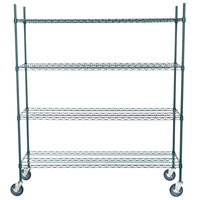 Regency 18 inch x 60 inch NSF Green Epoxy Shelf Kit with 64 inch Posts and Casters