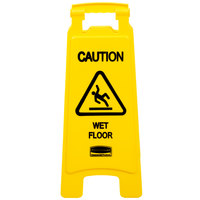 Rubbermaid FG611277YEL 25 inch Yellow Double Sided Wet Floor Sign - Caution Wet Floor
