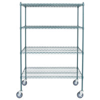 Regency 24 inch x 48 inch NSF Green Epoxy Shelf Kit with 64 inch Posts and Casters