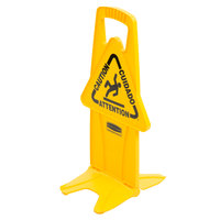 Rubbermaid FG9S09DPYEL 26 inch Yellow Multi-Lingual Wet Floor Stable Safety Sign - Caution